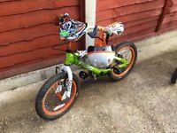 Kids hot wheels bike and helmet
