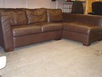 Contempo Italian Medium Brown Leather Corner Sofa L Shaped Settee