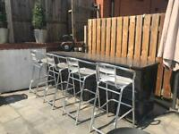 Aluminium silver outdoor outside bar stools