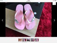 Women's pink toe post flip flops NEW UK Size 4