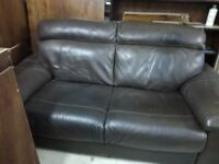 leather suite cons. 2 seater sofa 1 arm chair box stool