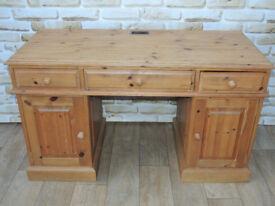 3 Part Pedestal pine wooden desk (Delivery)