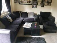 Corner sofa with armchair and out pufe