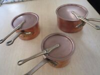 Set of three Leon Jaeggi copper pans in very good condition
