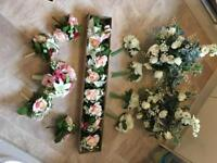 Artificial wedding flowers and other decorations