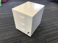 IKEA Erik white 3 drawer unit with lockable drawers and casters - white