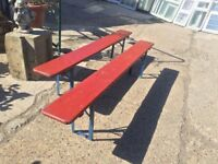 Pair of painted pine fold-up benches c1900
