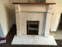 Marble and wooden fireplace