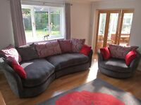 Large Grey Red Sofa plus Swivel Cuddle Chair