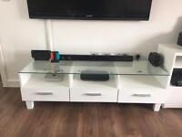 White high gloss TV Stand/Unit, glass top with 3 draws, LED lights