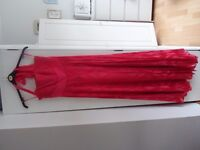 Monsoon Long gown / Formal prom dress / Bridesmaid dress. Coral Pink Silk mix. SIZE 12. Halterneck