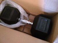 30kg DKN Rubber Hex Dumbbell - Brand New