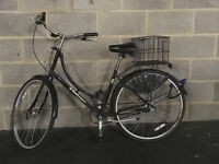 black Dutch ladies' bike with D-lock, lights and basket £50