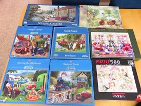 9 x 500 piece jigsaws all complete and in excellent condition - sell individually or job lot