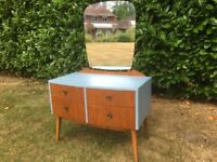 Vintage Mid Century Hand Painted Dressing Table and Mirror