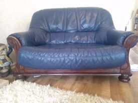 Lovely pair of 2 and 3 Seater Blue Italian Leather Sofas