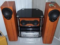 home entertainment system amp/tuner/speakers stand/cd/blue ray