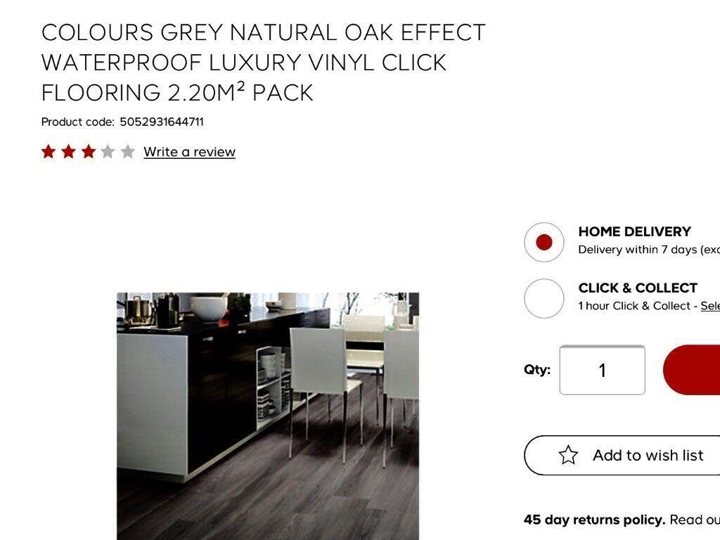 b q colours luxury vinyl click flooring silver grey effect in