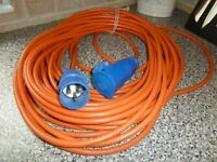 Electric hook up cable. Long. 3 pins. Camping or caravan.