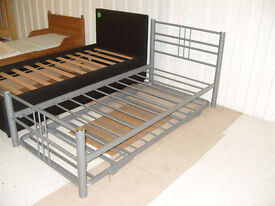 Atlas Metal Single Bed Frame & Guest Bed- Silver (Please call - Michal 07851770393)