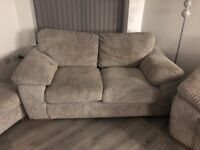 2 x two seater cord sofas and footstool