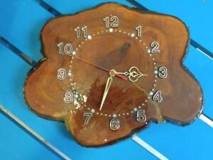 Oakville VINTAGE BURL CLOCK Working 1960'S Retro Mid-Century Wall Kitchen Rec Room Rare MCM Rustic Primitive Man Cave