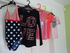 Selection of 4 as new t-shirt tops, plus swimsuit to fit girl aged 9/10