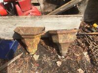 Cast iron gutter trough hoper planters
