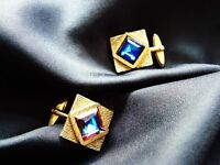Mens Vintage 70s cufflinks cuff links gold colour purple blue cut glass stone Christmas present