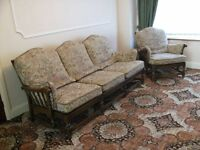 Ercol Three Piece Suite - Colonial solid elm in good condition.