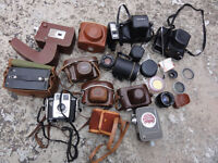 Assorted Vintange collectable Cameras and Filters