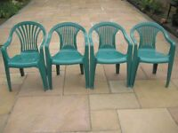 Four Green Plastic Garden Chairs - £5.00 each; buy one or more as required