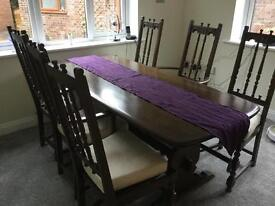 Lovely antique dining table and six chairs