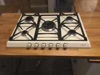 Eight month old smeg gas hob - five ring - cream