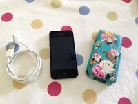 Apple iPhone 4s 64GB Black A1387 (CDMA + GSM) Factory Reset,USB Charger + Protective Case included
