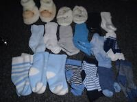 baby boy bundle hats scratch mits socks booties slippers from new born to 6 months