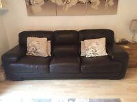 Leather (Sofitalia) Dark Brown large 3 seat sofa, chair and foot stool.