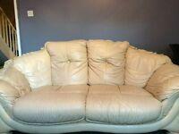 X2 Beautiful cream leather settee / sofa