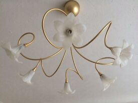 2 x ceiling light fittings. Gold colour with white glass shades