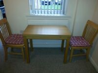 Oak Veneer Small Dining Table and Two Chairs