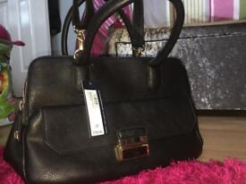 BRAND NEW BLACK M&S leather bag