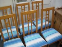 SIX RE-COVERED IKEA DINING CHAIRS
