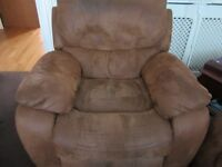 Armchair Bel Air Rocker Recliner Covers : Faux Suede, colour Tan- cost new £349 from Harveys