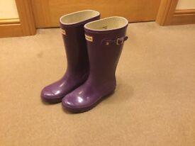 Girls purple junior Hunter wellies/ boots size 2