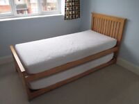 Guest bed (single bed with another bed underneath), hardly used, memory foam mattresses