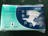 Adult nappies, BRAND NEW, slip regular, size M, ATTENDS