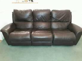 Brown leather LA-Z Boy sofa