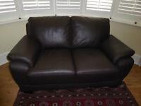 Harveys Black Leather 2 & 3 Seater Sofa