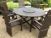 Garden Table and 6 Matching Chairs - Large Solid Oak Round Table