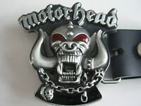 MOTORHEAD ROCKBAND MUSIC BELT BUCKLE WITH GENUINE LEATHER SNAP ON BELT WAIST 28 - 52
